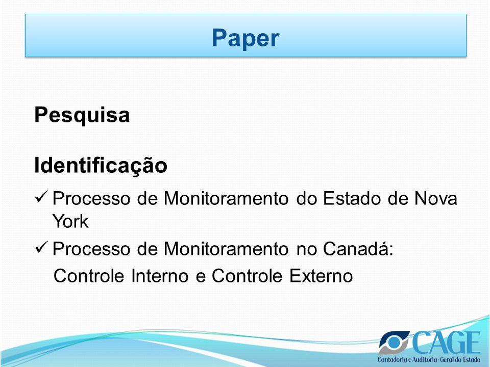 Pesquisa Identificação  Processo de Monitoramento do Estado de Nova York  Processo de Monitoramento no Canadá: Controle Interno e Controle Externo Paper