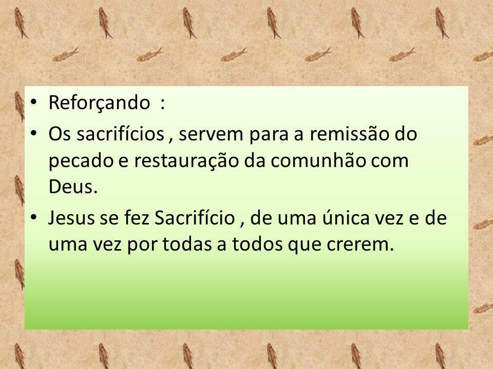 • Reforçando : • Os sacrifícios, servem para a remissão do pecado e restauração da comunhão com Deus. • Jesus se fez Sacrifício, de uma única vez e de