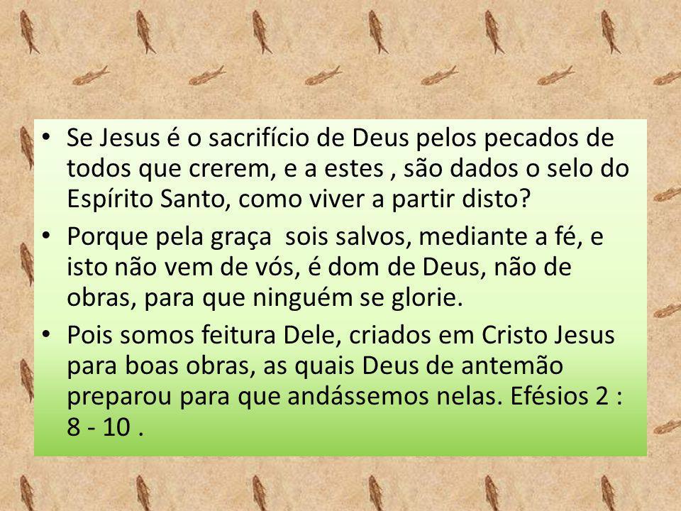 • Se Jesus é o sacrifício de Deus pelos pecados de todos que crerem, e a estes, são dados o selo do Espírito Santo, como viver a partir disto? • Porqu