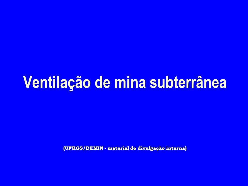 Ventilação de mina subterrânea (UFRGS/DEMIN - material de divulgação interna)