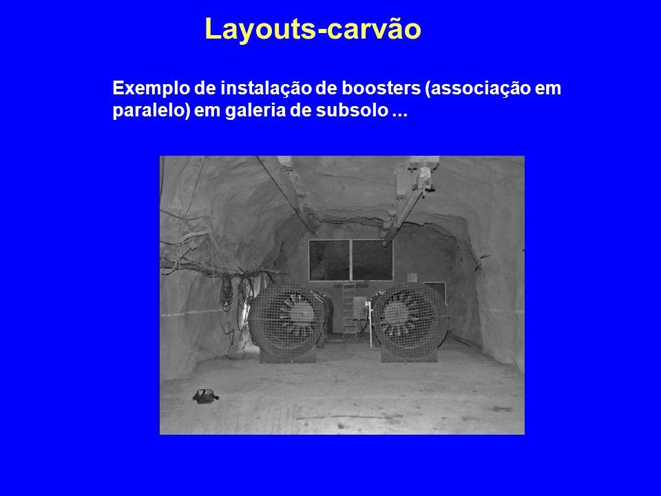 Layouts-carvão Exemplo de instalação de boosters (associação em paralelo) em galeria de subsolo...