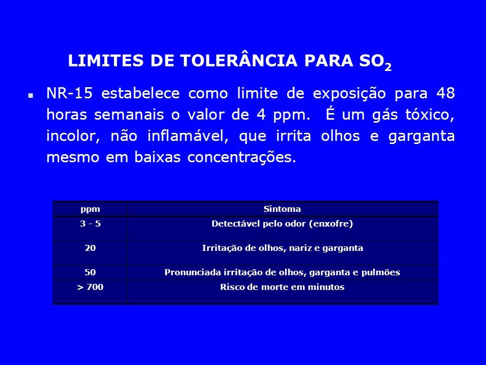 LIMITES DE TOLERÂNCIA PARA SO 2 n NR-15 estabelece como limite de exposição para 48 horas semanais o valor de 4 ppm. É um gás tóxico, incolor, não inf