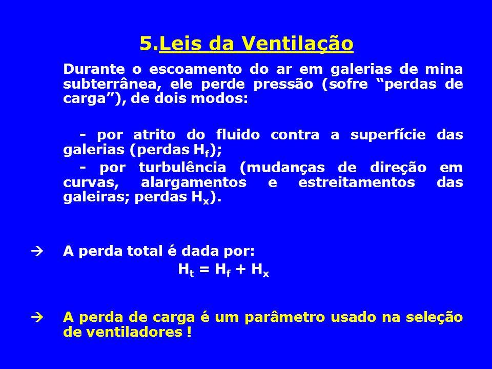 """5.Leis da Ventilação Durante o escoamento do ar em galerias de mina subterrânea, ele perde pressão (sofre """"perdas de carga""""), de dois modos: - por atr"""