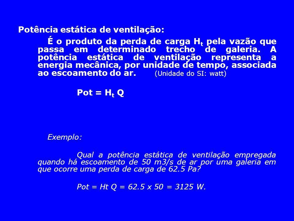 Potência estática de ventilação: É o produto da perda de carga H t pela vazão que passa em determinado trecho de galeria. A potência estática de venti