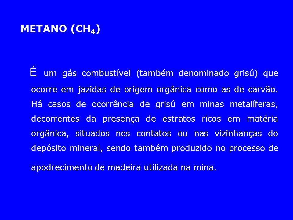 METANO (CH 4 ) É um gás combustível (também denominado grisú) que ocorre em jazidas de origem orgânica como as de carvão. Há casos de ocorrência de gr