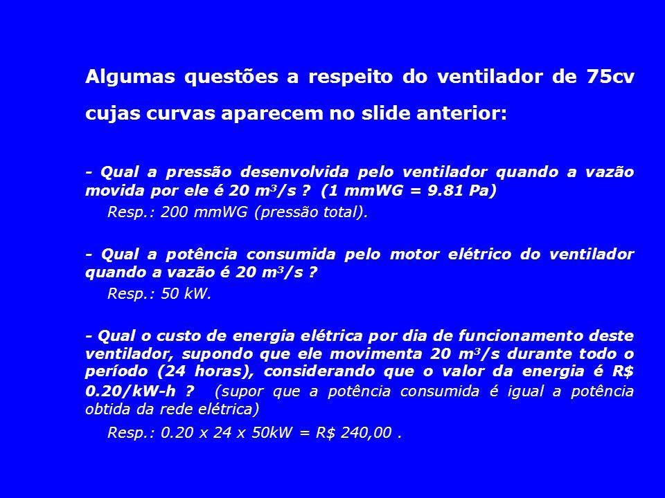 Algumas questões a respeito do ventilador de 75cv cujas curvas aparecem no slide anterior: - Qual a pressão desenvolvida pelo ventilador quando a vazã