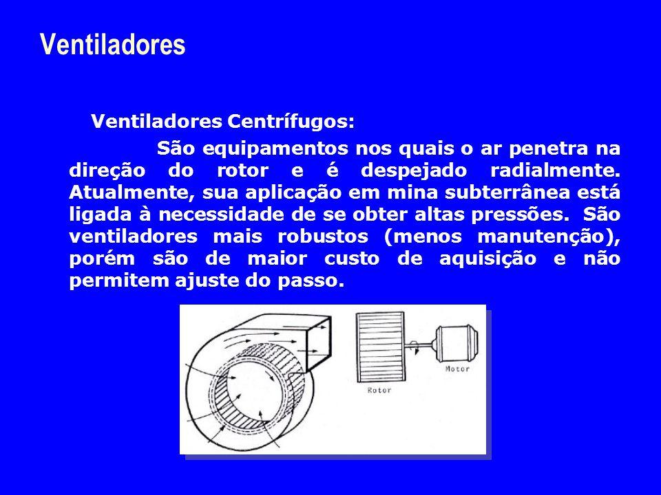 Ventiladores Ventiladores Centrífugos: São equipamentos nos quais o ar penetra na direção do rotor e é despejado radialmente. Atualmente, sua aplicaçã