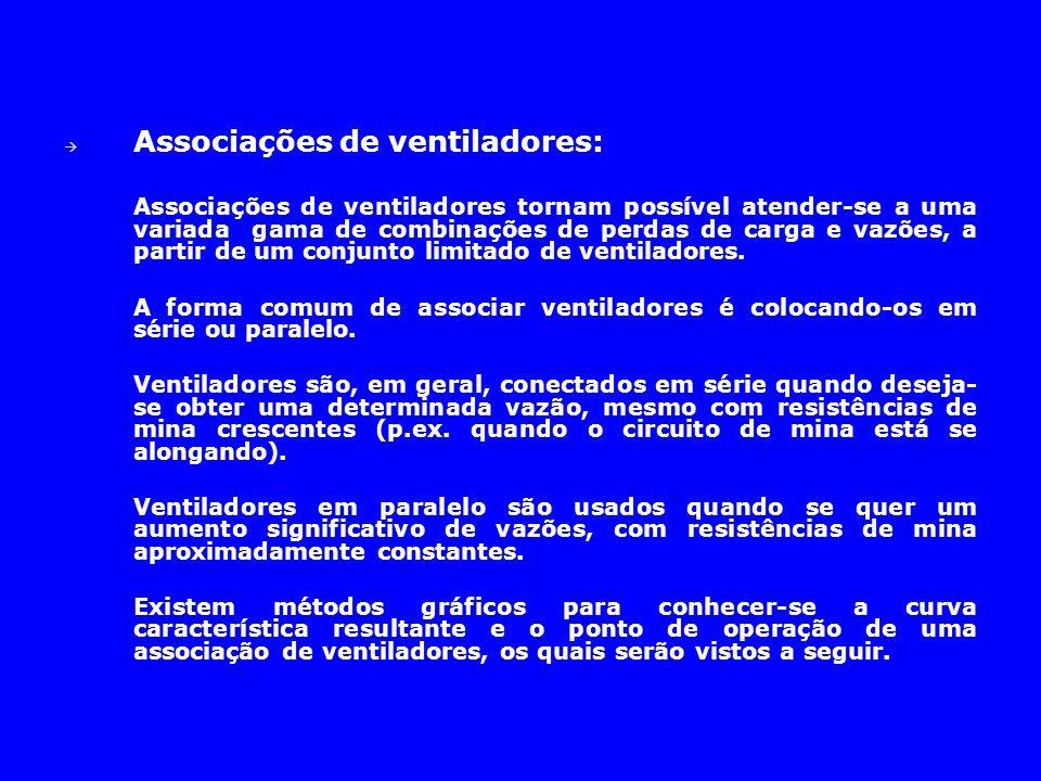  Associações de ventiladores: Associações de ventiladores tornam possível atender-se a uma variada gama de combinações de perdas de carga e vazões, a