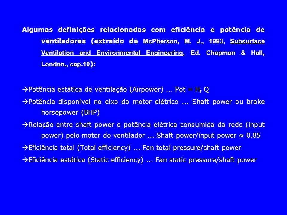 Algumas definições relacionadas com eficiência e potência de ventiladores (extraído de McPherson, M. J., 1993, Subsurface Ventilation and Environmenta