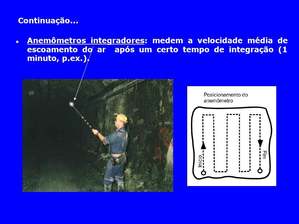 Continuação... n Anemômetros integradores: medem a velocidade média de escoamento do ar após um certo tempo de integração (1 minuto, p.ex.).