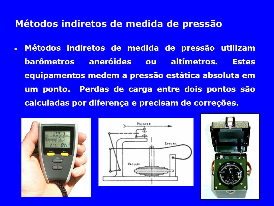 Métodos indiretos de medida de pressão n Métodos indiretos de medida de pressão utilizam barômetros aneróides ou altímetros. Estes equipamentos medem