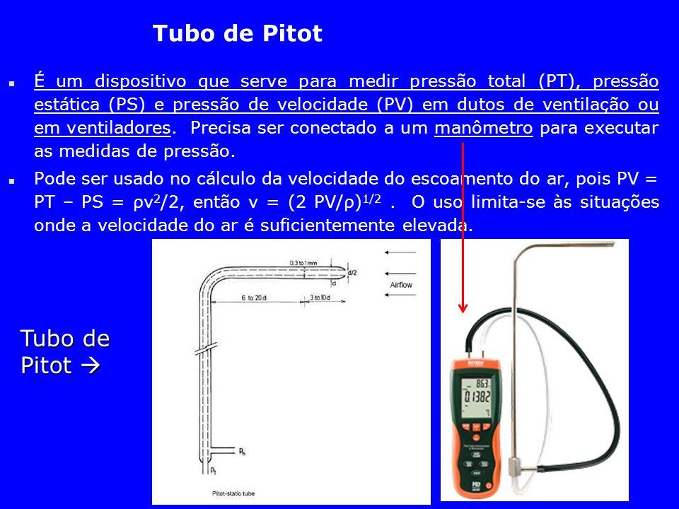 Tubo de Pitot n É um dispositivo que serve para medir pressão total (PT), pressão estática (PS) e pressão de velocidade (PV) em dutos de ventilação ou