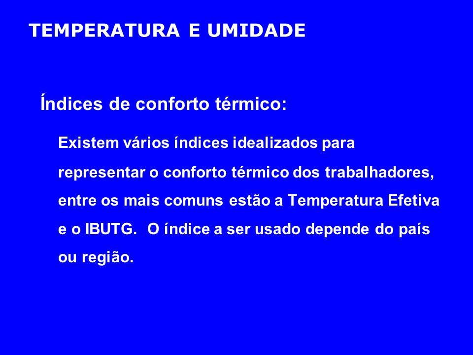 TEMPERATURA E UMIDADE Índices de conforto térmico: Existem vários índices idealizados para representar o conforto térmico dos trabalhadores, entre os