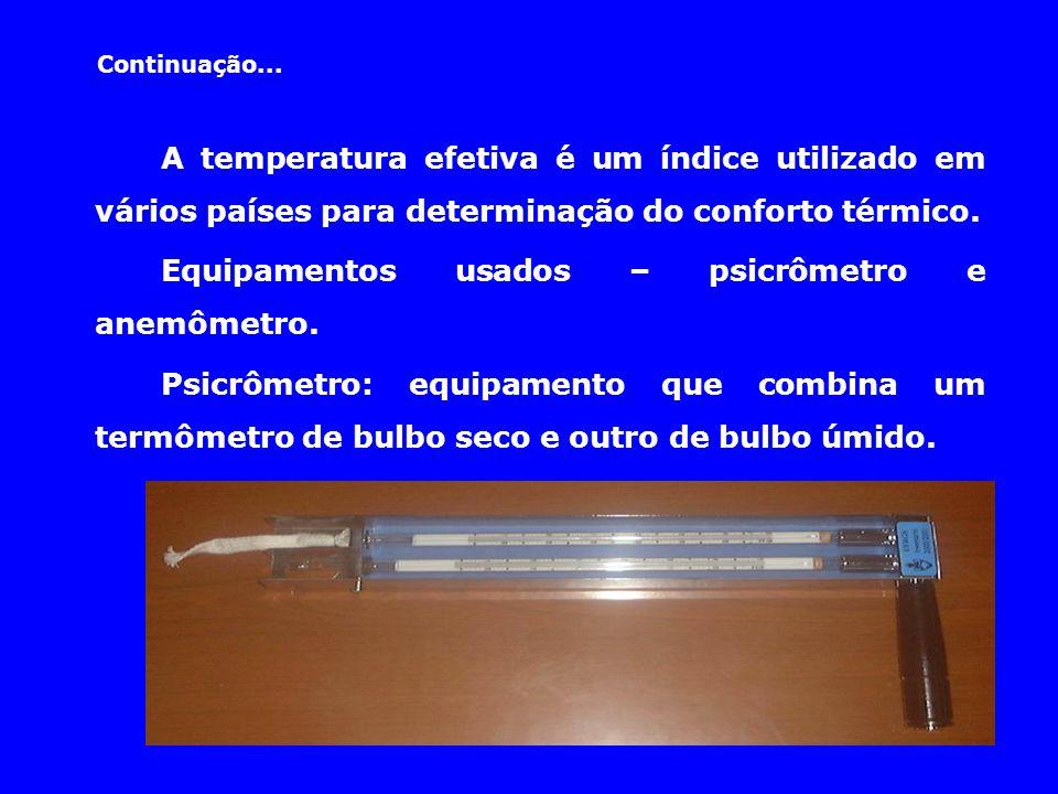 Continuação... A temperatura efetiva é um índice utilizado em vários países para determinação do conforto térmico. Equipamentos usados – psicrômetro e