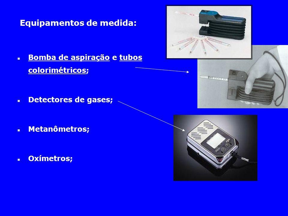 Equipamentos de medida: n Bomba de aspiração e tubos colorimétricos; n Detectores de gases; n Metanômetros; n Oxímetros;