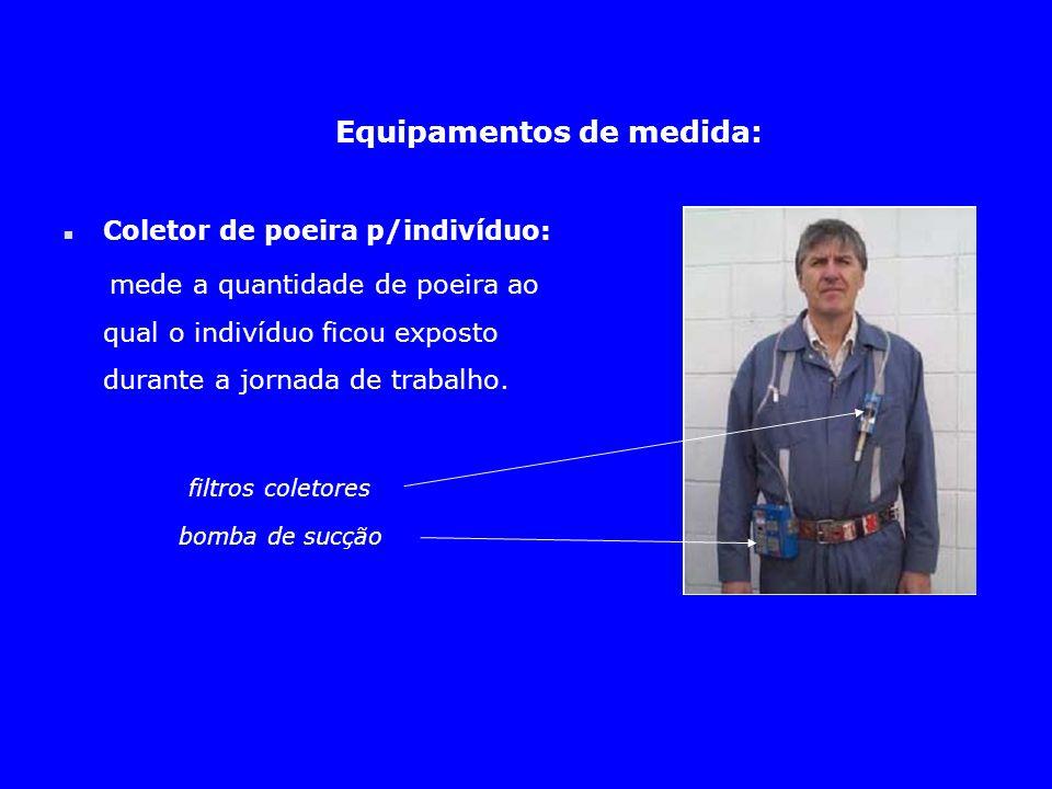 Equipamentos de medida: n Coletor de poeira p/indivíduo: mede a quantidade de poeira ao qual o indivíduo ficou exposto durante a jornada de trabalho.