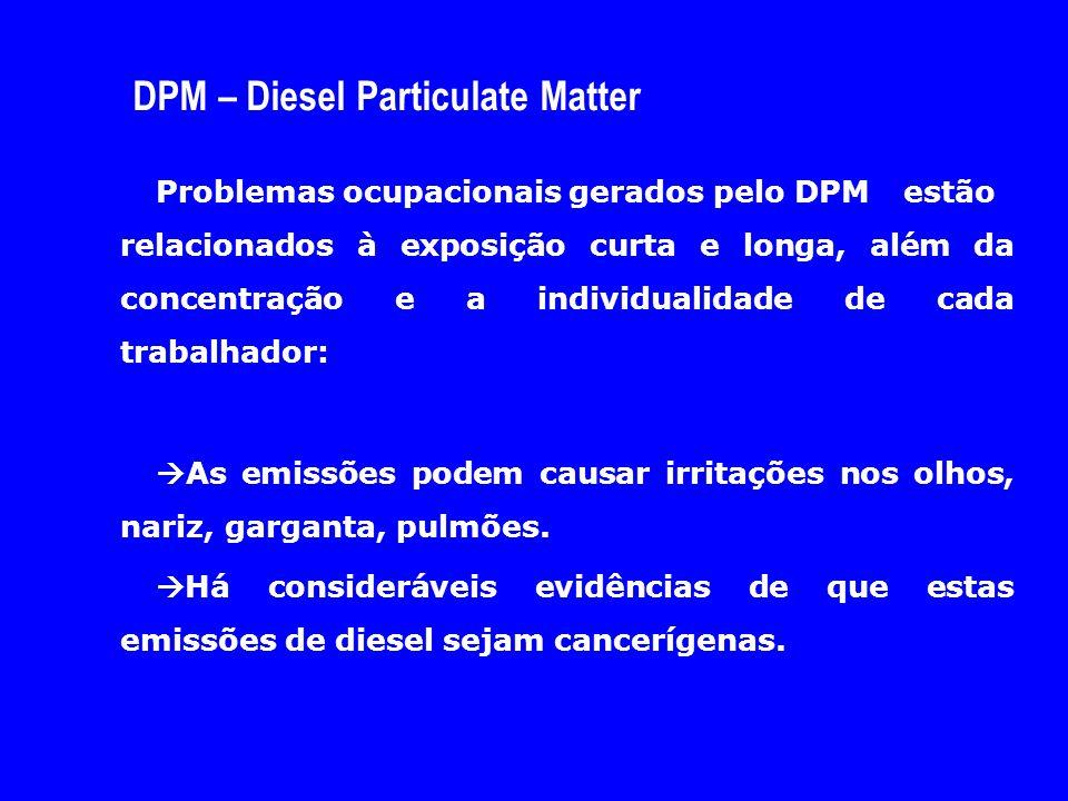 DPM – Diesel Particulate Matter Problemas ocupacionais gerados pelo DPM estão relacionados à exposição curta e longa, além da concentração e a individ