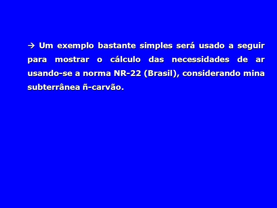  Um exemplo bastante simples será usado a seguir para mostrar o cálculo das necessidades de ar usando-se a norma NR-22 (Brasil), considerando mina su