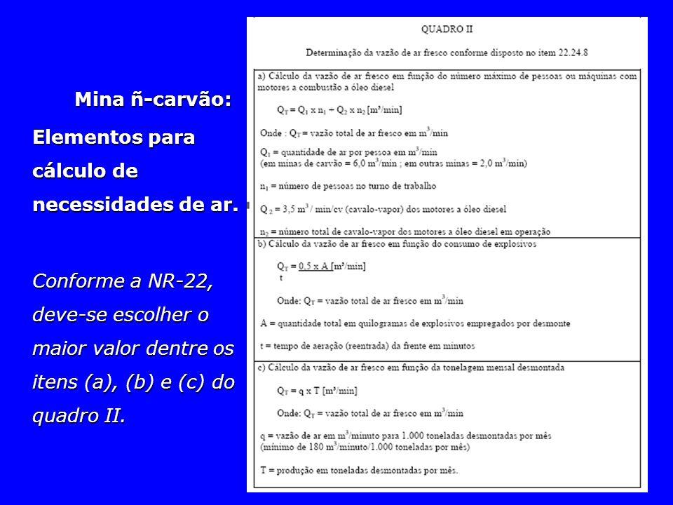 Mina ñ-carvão: Elementos para cálculo de necessidades de ar. Conforme a NR-22, deve-se escolher o maior valor dentre os itens (a), (b) e (c) do quadro