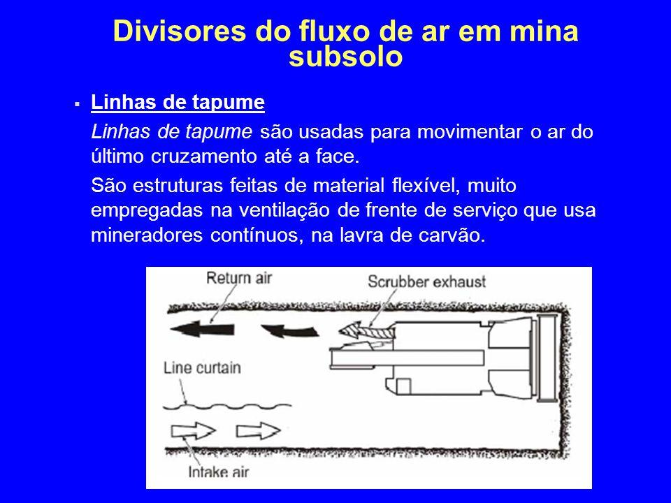 Divisores do fluxo de ar em mina subsolo  Linhas de tapume Linhas de tapume são usadas para movimentar o ar do último cruzamento até a face. São estr