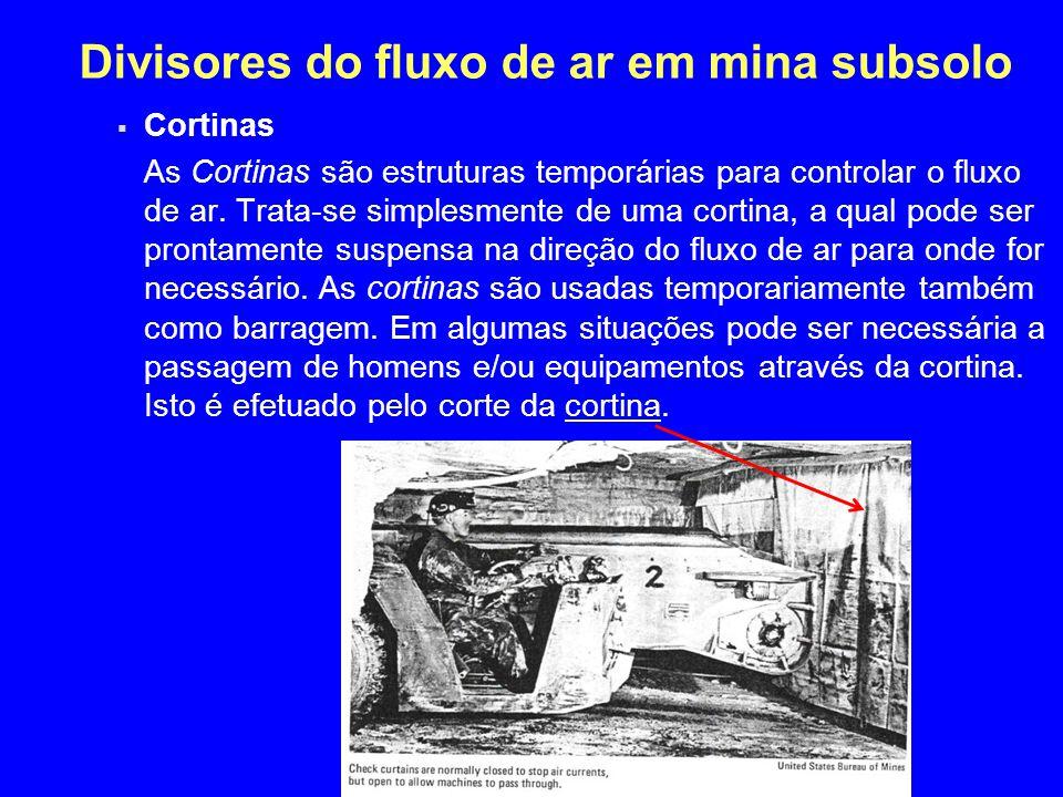 Divisores do fluxo de ar em mina subsolo  Cortinas As Cortinas são estruturas temporárias para controlar o fluxo de ar. Trata-se simplesmente de uma