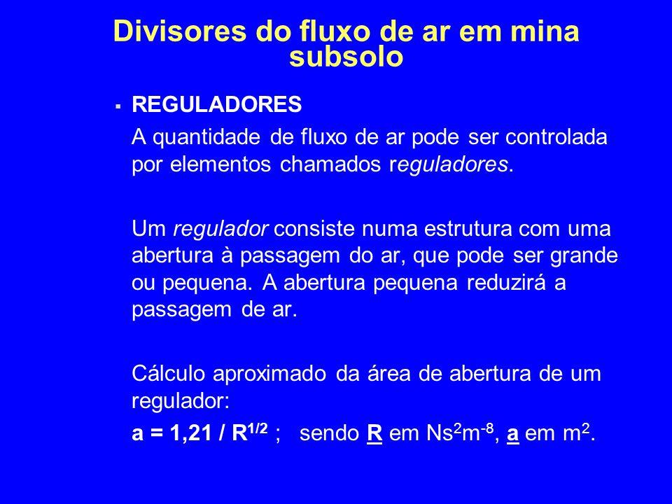 Divisores do fluxo de ar em mina subsolo  REGULADORES A quantidade de fluxo de ar pode ser controlada por elementos chamados reguladores. Um regulado