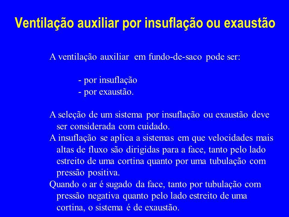 Ventilação auxiliar por insuflação ou exaustão A ventilação auxiliar em fundo-de-saco pode ser: - por insuflação - por exaustão. A seleção de um siste