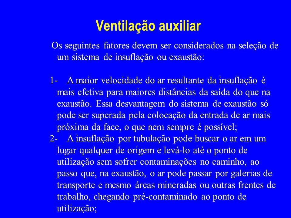 Ventilação auxiliar Os seguintes fatores devem ser considerados na seleção de um sistema de insuflação ou exaustão: 1- A maior velocidade do ar result