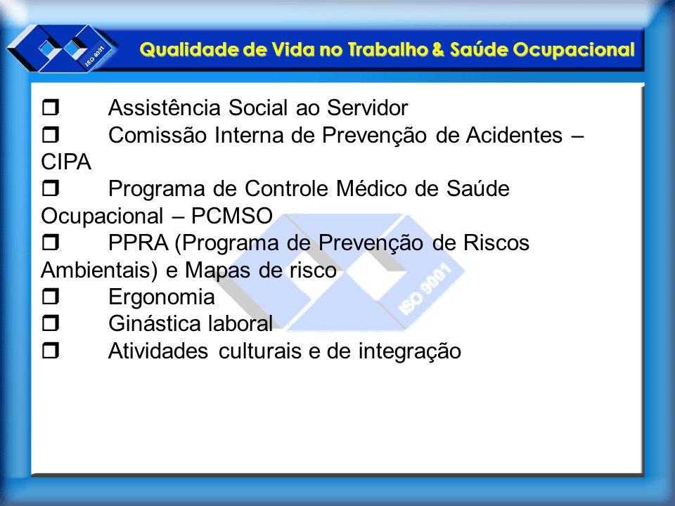 Qualidade de Vida no Trabalho & Saúde Ocupacional  Assistência Social ao Servidor  Comissão Interna de Prevenção de Acidentes – CIPA  Programa de C