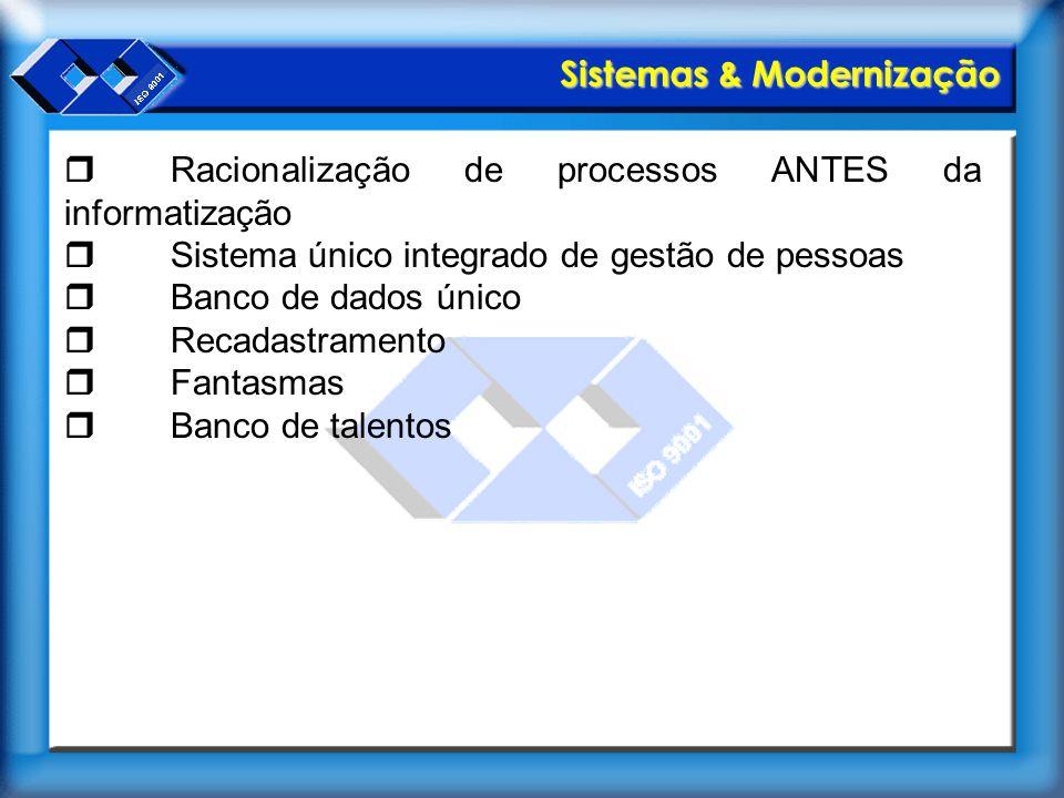 Sistemas & Modernização  Racionalização de processos ANTES da informatização  Sistema único integrado de gestão de pessoas  Banco de dados único 
