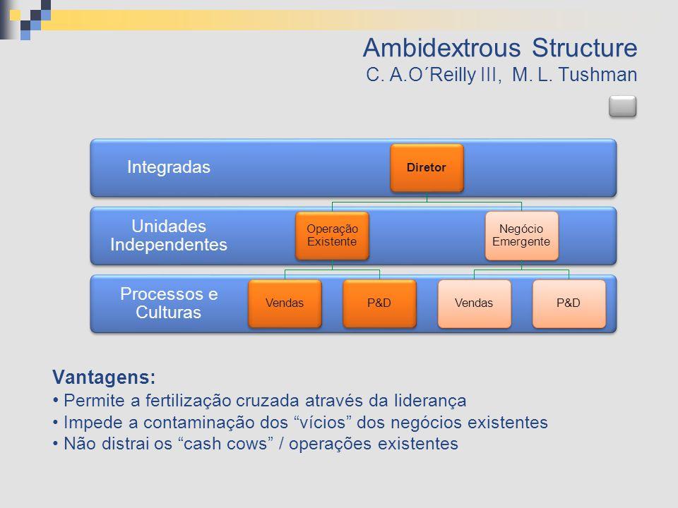 Ambidextrous Structure C. A.O´Reilly III, M. L. Tushman Processos e Culturas Unidades Independentes Integradas Diretor Operação Existente VendasP&D Ne