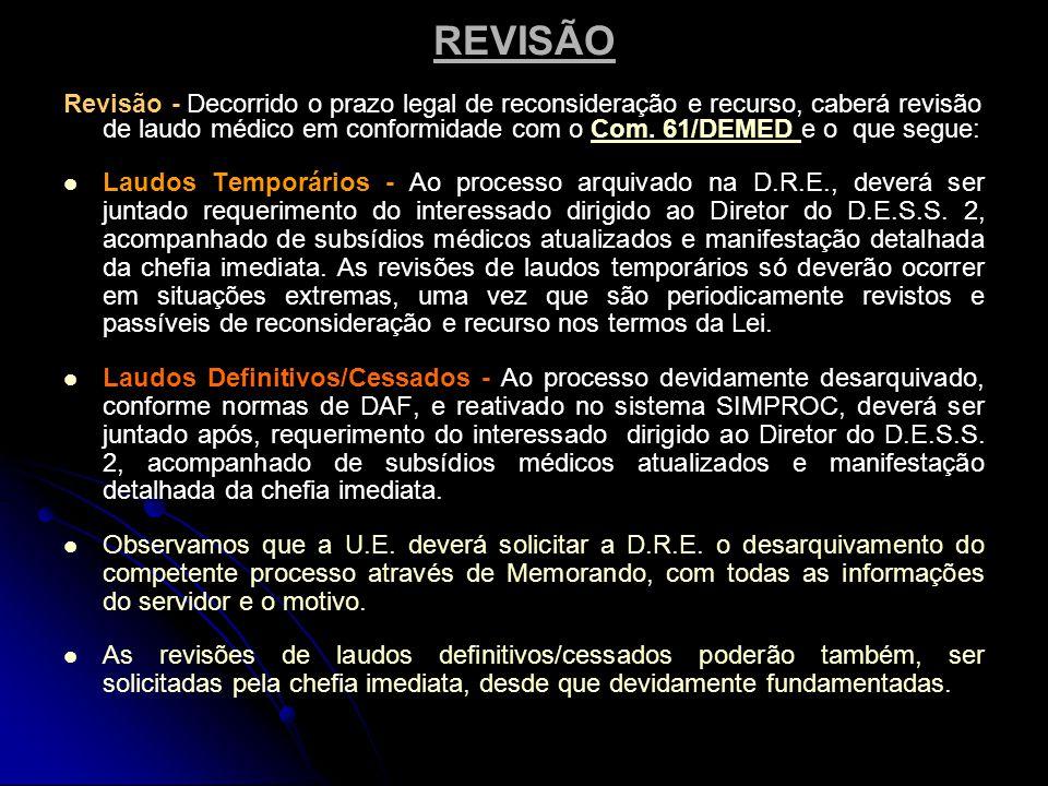 REVISÃO Revisão - Decorrido o prazo legal de reconsideração e recurso, caberá revisão de laudo médico em conformidade com o Com.