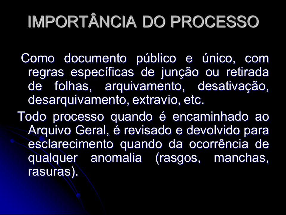 IMPORTÂNCIA DO PROCESSO Como documento público e único, com regras específicas de junção ou retirada de folhas, arquivamento, desativação, desarquivamento, extravio, etc.
