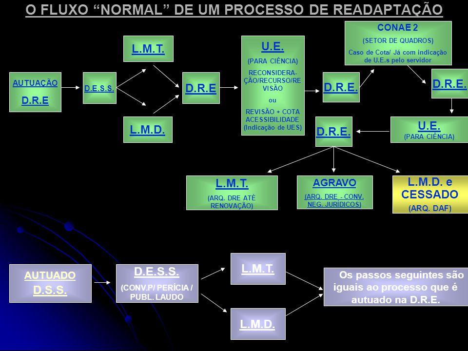 O FLUXO NORMAL DE UM PROCESSO DE READAPTAÇÃO AUTUAÇÃO D.R.E D.E.S.S.