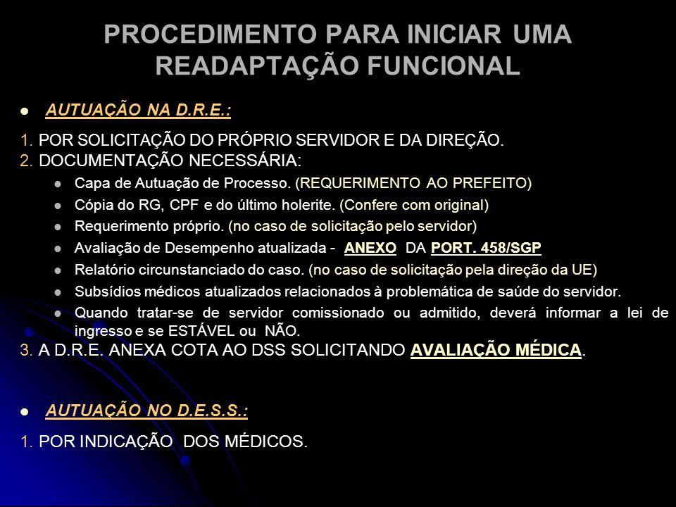 PROCEDIMENTO PARA INICIAR UMA READAPTAÇÃO FUNCIONAL   AUTUAÇÃO NA D.R.E.: 1.