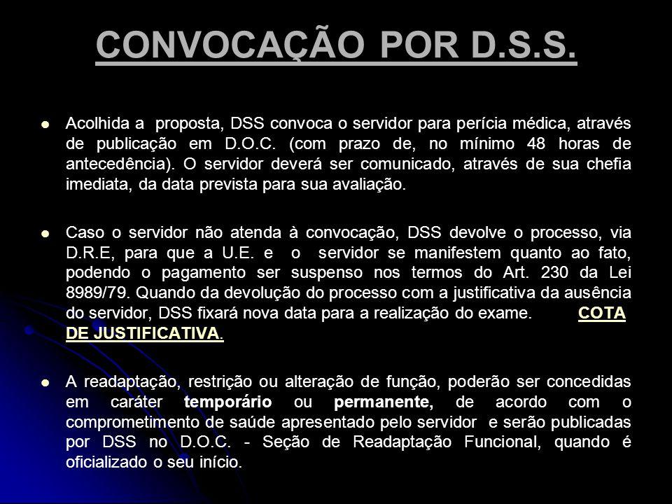 CONVOCAÇÃO POR D.S.S.