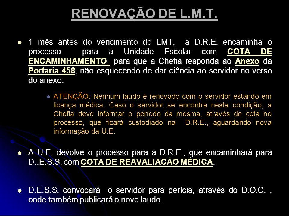 RENOVAÇÃO DE L.M.T.  1 mês antes do vencimento do LMT, a D.R.E.