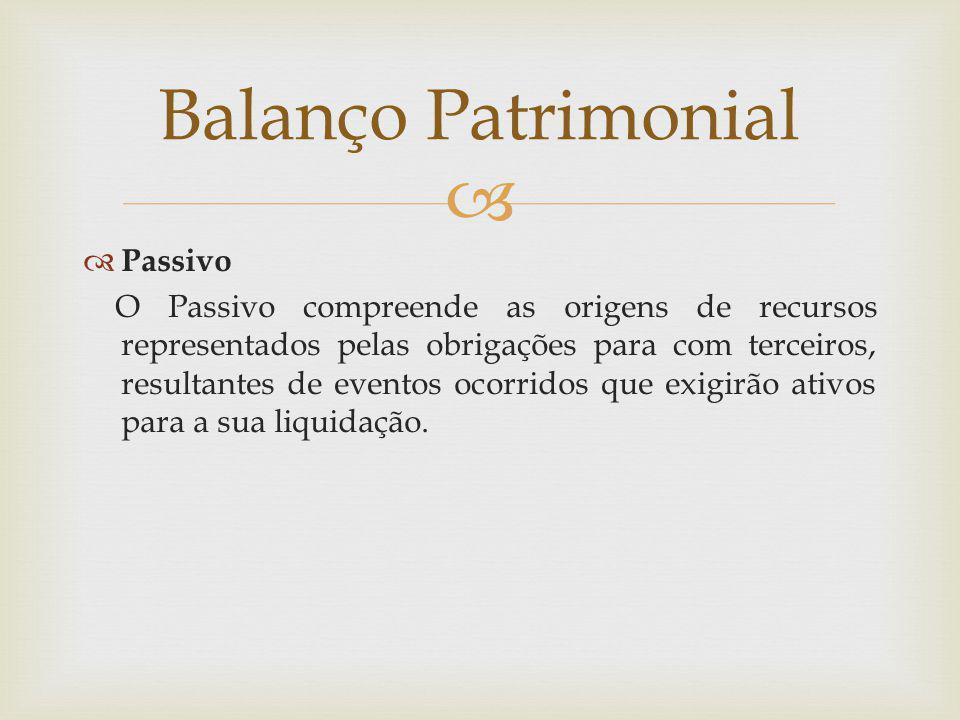  Balanço Patrimonial  Passivo O Passivo compreende as origens de recursos representados pelas obrigações para com terceiros, resultantes de eventos