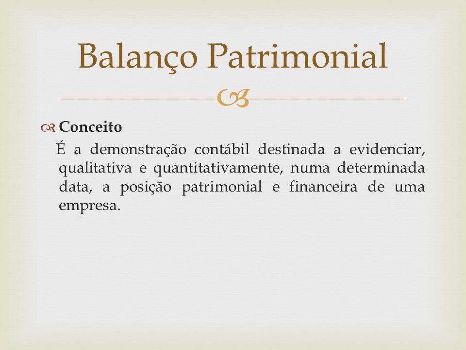  Balanço Patrimonial  Conceito É a demonstração contábil destinada a evidenciar, qualitativa e quantitativamente, numa determinada data, a posição p