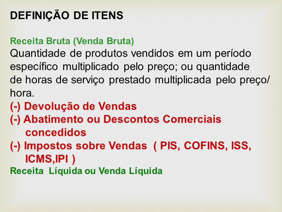 DEFINIÇÃO DE ITENS Receita Bruta (Venda Bruta) Quantidade de produtos vendidos em um período específico multiplicado pelo preço; ou quantidade de hora