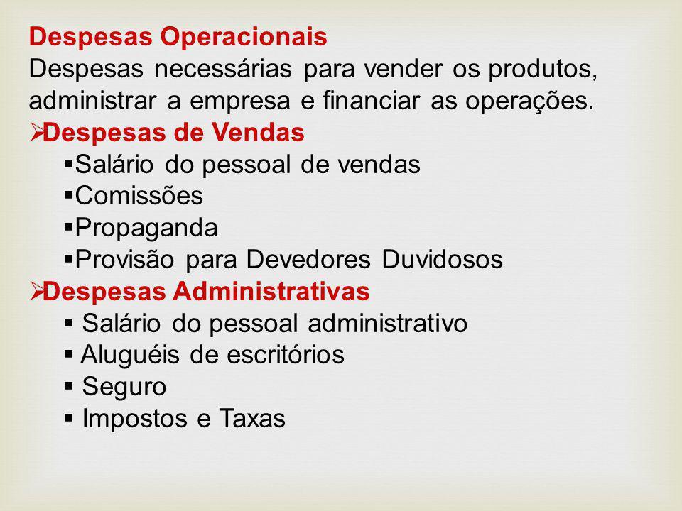 Despesas Operacionais Despesas necessárias para vender os produtos, administrar a empresa e financiar as operações.  Despesas de Vendas  Salário do
