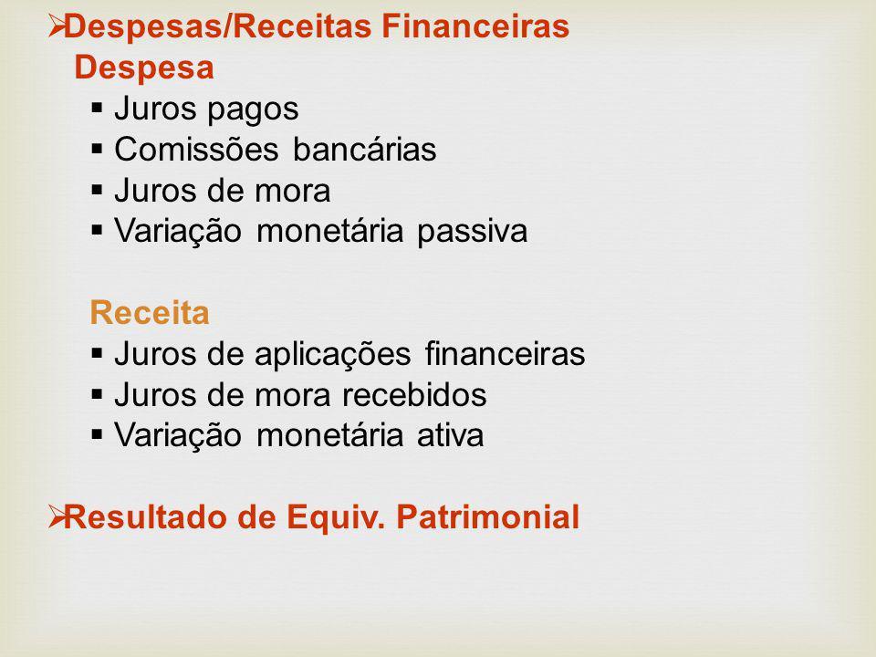  Despesas/Receitas Financeiras Despesa  Juros pagos  Comissões bancárias  Juros de mora  Variação monetária passiva Receita  Juros de aplicações