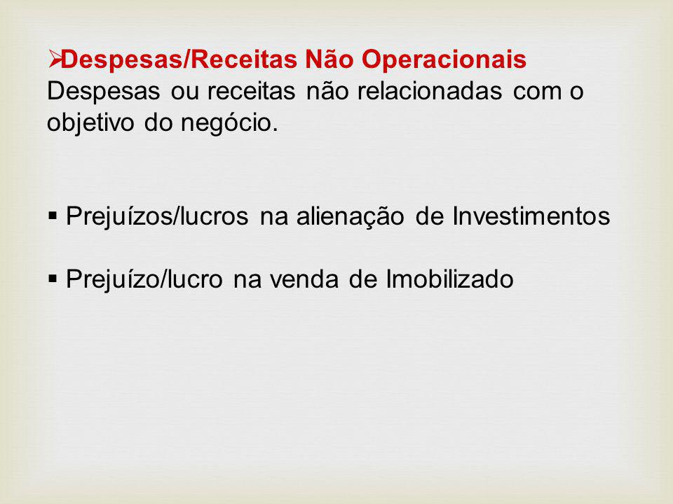  Despesas/Receitas Não Operacionais Despesas ou receitas não relacionadas com o objetivo do negócio.  Prejuízos/lucros na alienação de Investimentos