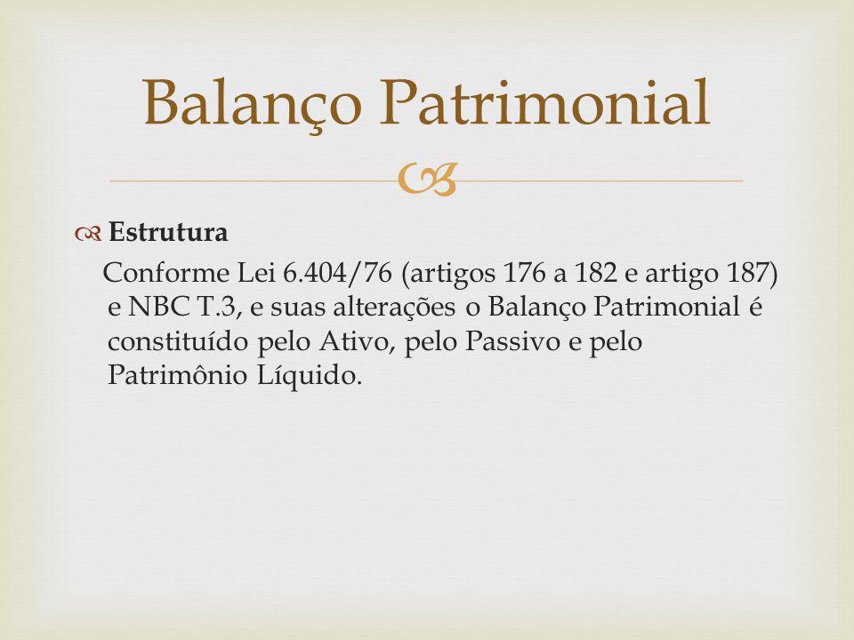  Balanço Patrimonial  Estrutura Conforme Lei 6.404/76 (artigos 176 a 182 e artigo 187) e NBC T.3, e suas alterações o Balanço Patrimonial é constitu
