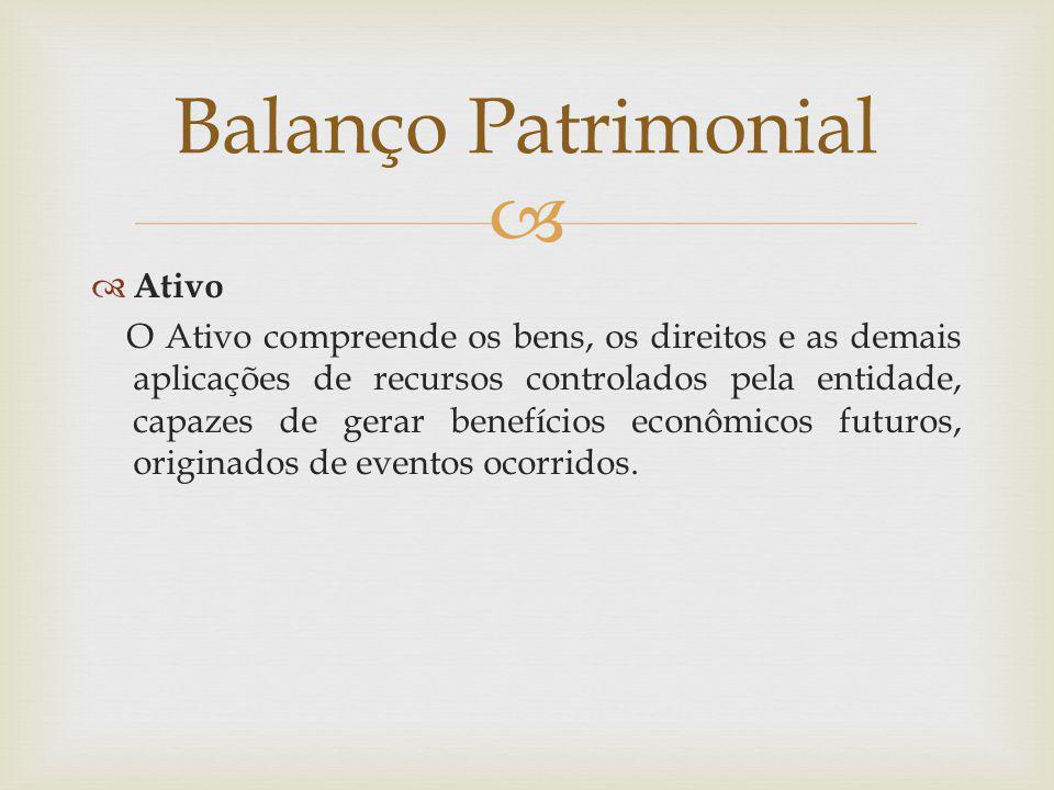  Balanço Patrimonial  Ativo O Ativo compreende os bens, os direitos e as demais aplicações de recursos controlados pela entidade, capazes de gerar b
