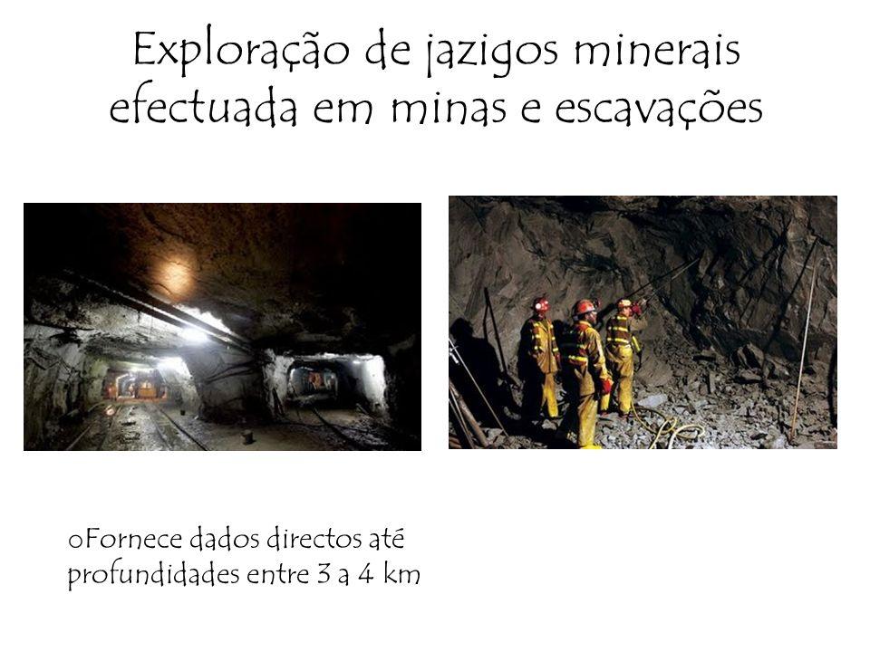Exploração de jazigos minerais efectuada em minas e escavações o Fornece dados directos até profundidades entre 3 a 4 km