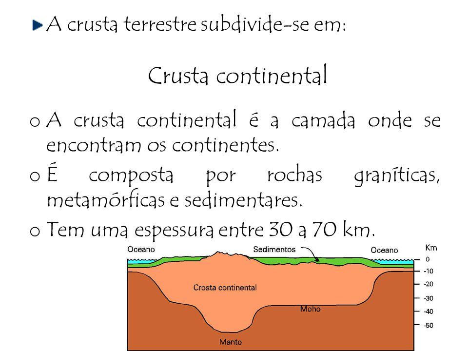 A crusta terrestre subdivide-se em: Crusta continental o A crusta continental é a camada onde se encontram os continentes. o É composta por rochas gra