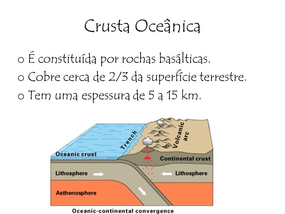 Crusta Oceânica o É constituída por rochas basálticas. o Cobre cerca de 2/3 da superfície terrestre. o Tem uma espessura de 5 a 15 km.