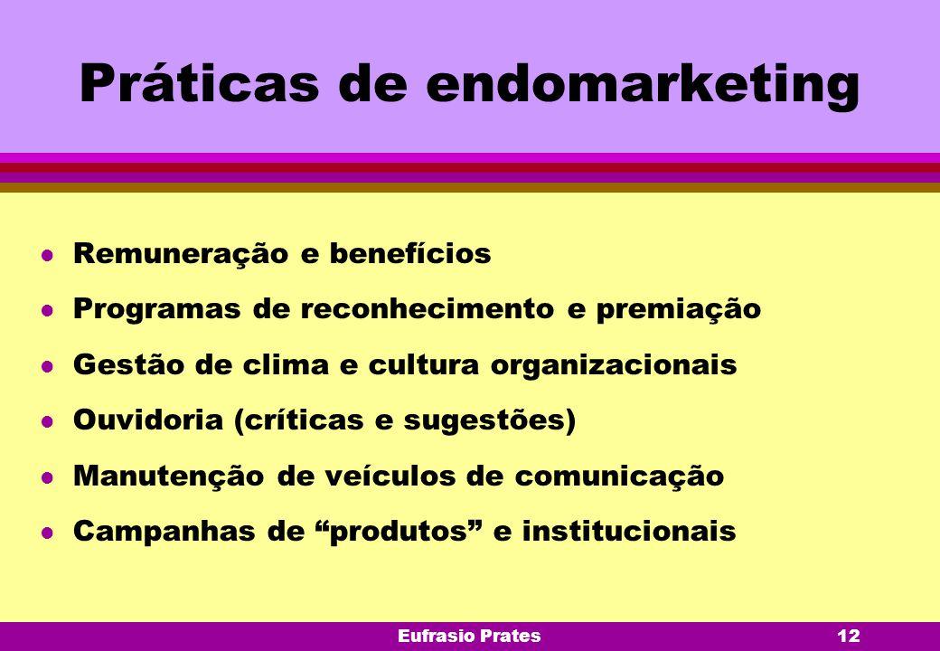 Eufrasio Prates12 Práticas de endomarketing l Remuneração e benefícios l Programas de reconhecimento e premiação l Gestão de clima e cultura organizac