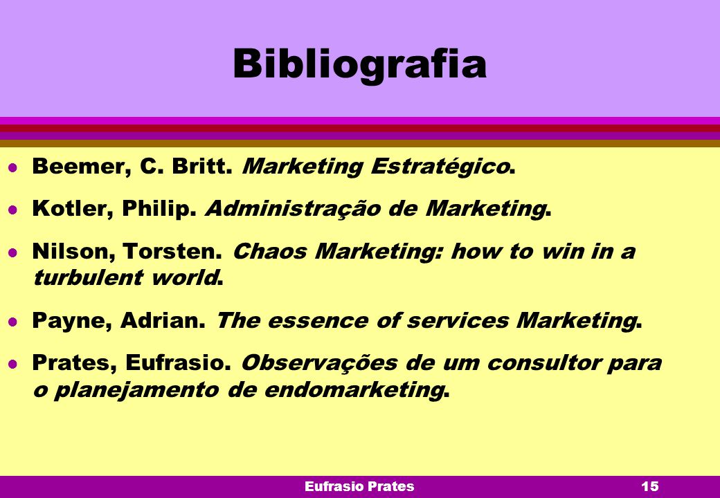 Eufrasio Prates15 Bibliografia l Beemer, C. Britt. Marketing Estratégico. l Kotler, Philip. Administração de Marketing. l Nilson, Torsten. Chaos Marke